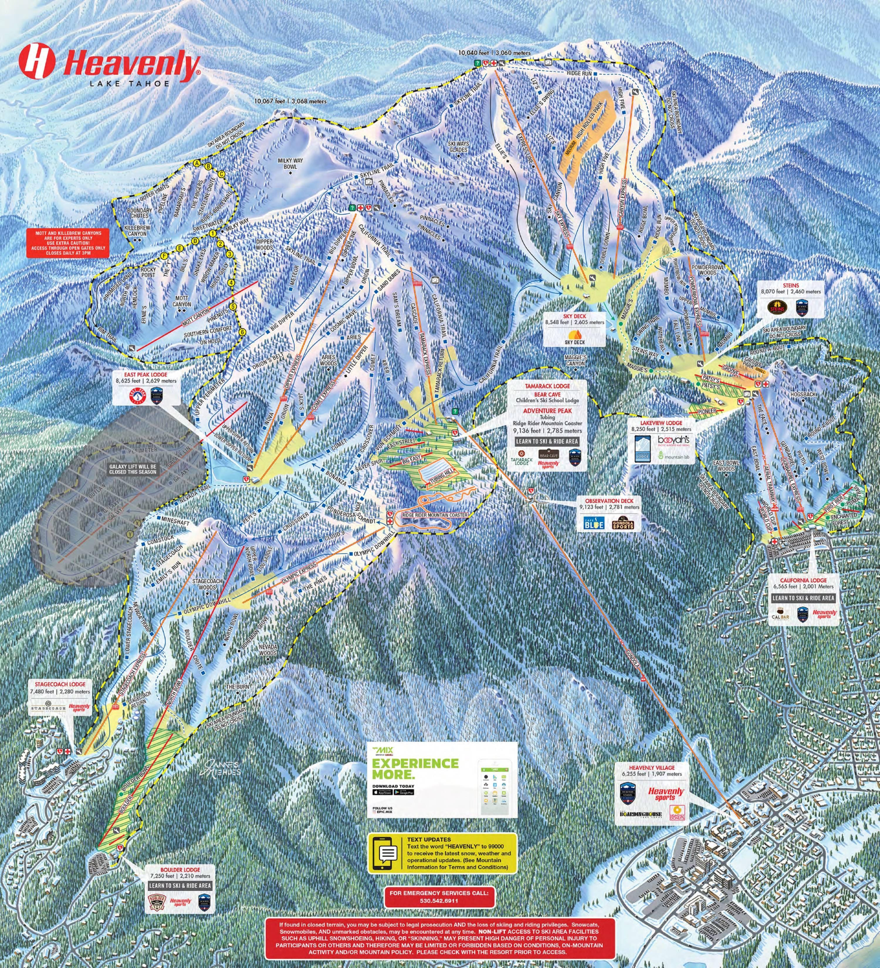 Mappa delle piste heavenly for Noleggio di cabine lake tahoe per coppie